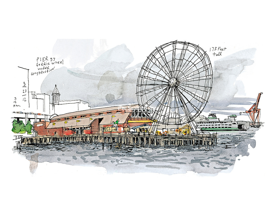 """Developer Hal Griffith, who has owned Pier 57 since the 1980s, says the $20-million plus Great Wheel is the most visible change to the waterfront in years. He said the waterfront needed """"something really big"""" to counteract the disruption being caused by the demolition and replacement of the Alaskan Way viaduct. (Gabriel Campanario / The Seattle Times)"""