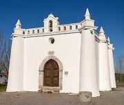 Late Gothic architectural style whitewashed hermitage chapel of Saint Sebastian, 'Ermida de Sao Sebastiao' in village of Alvito, Baixo Alentejo, Portugal, southern Europe