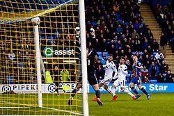Greg Docherty of Shrewsbury Town scores a goal to make it 1-0 - Mandatory by-line: Robbie Stephenson/JMP - 26/01/2019 - FOOTBALL - Montgomery Waters Meadow - Shrewsbury, England - Shrewsbury Town v Wolverhampton Wanderers - Emirates FA Cup fourth round