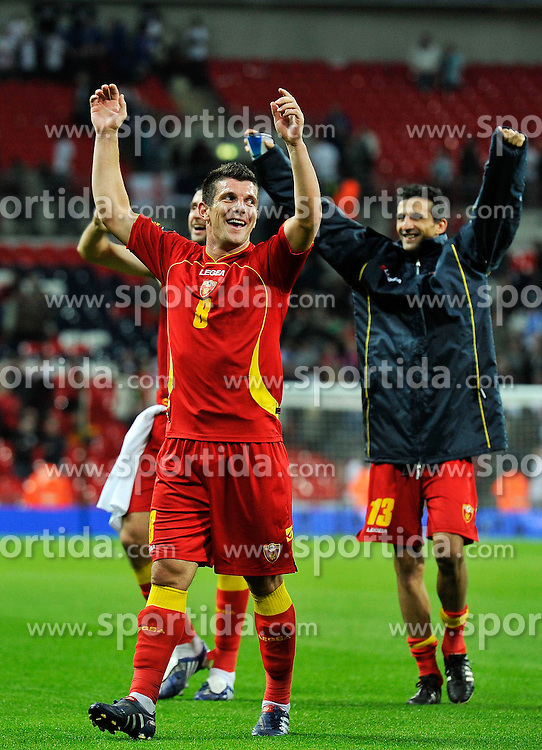 12.10.2010, Wembley Stadium, London, ENG, UEFA 2012 Qualifier, England vs Montenegro, im Bild Fatos Beciraj of Montenegro celebrates at the end of the game, EXPA Pictures © 2010, PhotoCredit: EXPA/ IPS/ Sean Ryan *** ATTENTION *** UK AND FRANCE OUT!