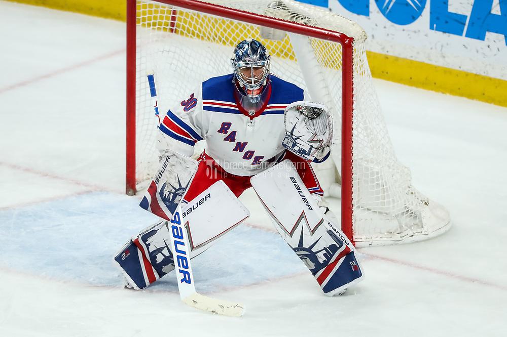Feb 13, 2018; Saint Paul, MN, USA; New York Rangers goalie Henrik Lundqvist (30) during a game between the Minnesota Wild and New York Rangers at Xcel Energy Center. Mandatory Credit: Brace Hemmelgarn-USA TODAY Sports