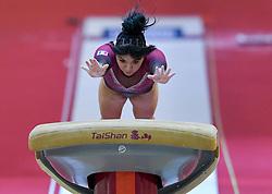 Alexa Moreno of Mexico performs on the Vault  during the Women's Final at the 48th Gymnastics World Championships in Doha, capital of Qatar, Nov. 02, 2018. Alexa Moreno won bronze medal with14.508  (Credit Image: © Yangyuanyong/Xinhua via ZUMA Wire)