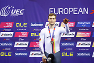 Podium, Men Sprint, Stefan Botticher (Germany) silver medal, during the Track Cycling European Championships Glasgow 2018, at Sir Chris Hoy Velodrome, in Glasgow, Great Britain, Day 5, on August 6, 2018 - Photo luca Bettini / BettiniPhoto / ProSportsImages / DPPI<br /> - Restriction / Netherlands out, Belgium out, Spain out, Italy out -