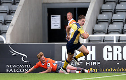 Josh Adams of Worcester Warriors runs in a try against Newcastle Falcons - Mandatory by-line: Robbie Stephenson/JMP - 30/07/2016 - RUGBY - Kingston Park - Newcastle, England - Worcester Warriors v Newcastle Falcons - Singha Premiership 7s