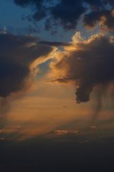 sky, sunset, Lleida, crepuscular ray, clouds, cumulus, cumulus congestus, virga
