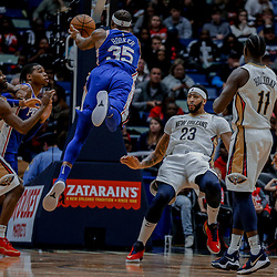 Dec 10, 2017; New Orleans, LA, USA; Philadelphia 76ers forward Trevor Booker (35) draws a foul from New Orleans Pelicans forward Anthony Davis (23) during the second quarter of a game at the Smoothie King Center. Mandatory Credit: Derick E. Hingle-USA TODAY Sports