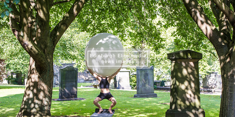 Pictured: Nikita Lebedev<br /> <br /> The cast of Staging Wittgenstein. Annie Hagg (blonde) , Roxanna Kadyrova (dark hair) and Nikita Lebedev were enjoying the sunshine as they prepared for their run in the Edinburgh Festival at Venue 34, Adams House, Chambers Street in Edinburgh.  The US/Russian production will be in Edinburgh until 28 August. <br /> <br /> Ger Harley   EEm 9 August 2017