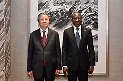 GUANGZHOU, Sept. 7, 2016 (Xinhua) -- Chinese Vice Premier Ma Kai (L) meets with Beninese President Patrice Talon in Guangzhou, capital of south China's Guangdong Province, Sept. 7, 2016. Talon is currently visiting China to attend a China-Africa investment forum. (Xinhua/Liang Xu) (wyl) (Credit Image: © Liang Xu/Xinhua via ZUMA Wire)
