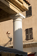 Close up of column, element of building on city street, Llle-Rousse, Corsica, France