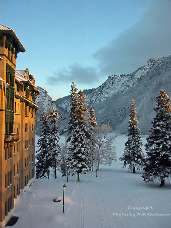 Looking out of the window at The Balsams in New Hampshire.