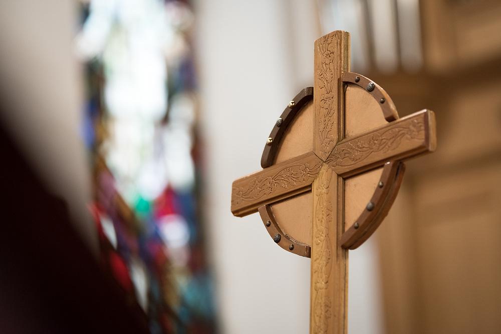 24 November 2019, Geneva, Switzerland: Cross in the Emmanuel Epicopal Church, Geneva.