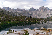 Overcast view of Rae Lakes,  John Muir Trail/Pacific Crest Trail; Sequoia Kings Canyon Wilderness; Kings Canyon National Park; Sierra Nevada Mountains, California, USA.