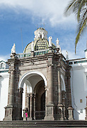 The Cathedral of Quito, Catedral Metropolitana or National Cathedral on the south side of the Plaza de La Independencia
