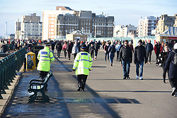 © Licensed to London News Pictures. 10/01/2021. Brighton, UK. Police patrol the seafront at Brighton on the south coast during the third national lockdown. Photo credit: Liz Pearce/LNP