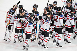 Players of Canada after winning during the 2017 IIHF Men's World Championship group B Ice hockey match between National Teams of Canada and Norway, on May 15, 2017 in AccorHotels Arena in Paris, France. Photo by Vid Ponikvar / Sportida