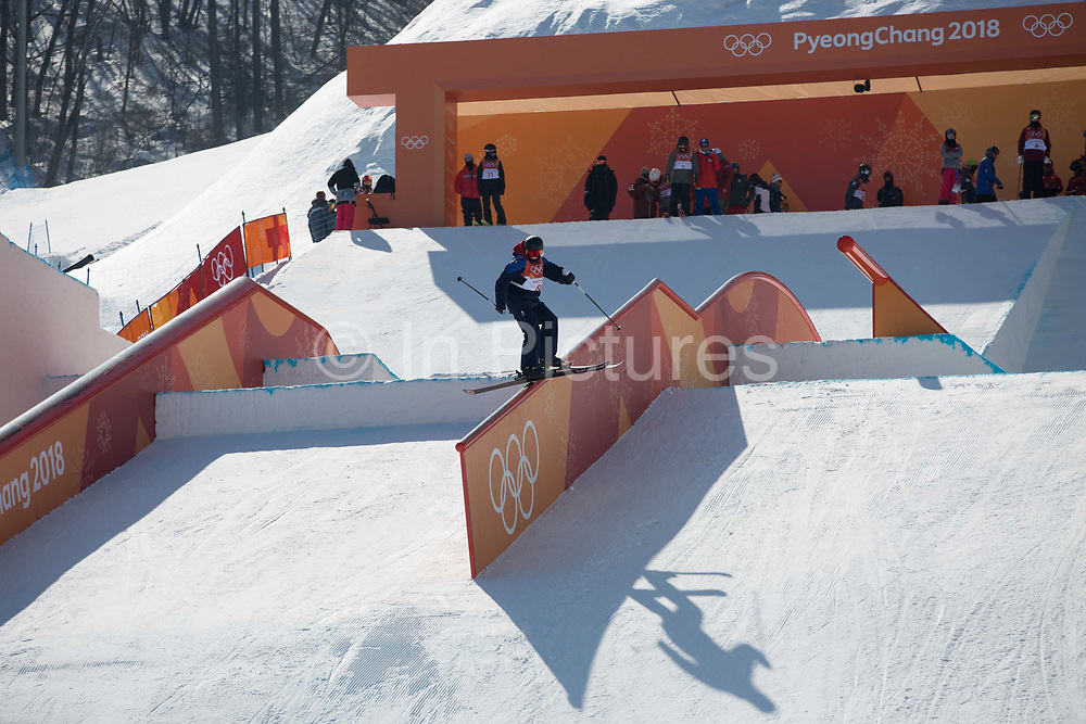 Katie Summerhayes, Great British freeskier, during slopestyle practice at the Pyeongchang 2018 Winter Olympics on February 15th 2018, at the Phoenix Snow Park in Pyeongchang-gun, South Korea.