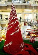 SHENYANG, CHINA - DECEMBER 11: (CHINA OUT) <br /> <br /> Ten Thousands Roses Make A Christmas Tree<br /> <br /> Ten Thousands roses decorate into a Christmas Tree at a shopping mall on December 11, 2014 in Shenyang, Liaoning province of China. A 13-meter-tall Christmas Tree was decorated by ten thousands roses and it is said that it was made by an European artist in ten days and night.<br /> ©Exclusivepix Media