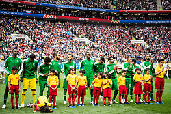 June 14, 2018 - Moscow, Russia - 180614 A mascot girl prays in front of the players of Saudi Arabia during lineup prior the FIFA World Cup group stage match between Russia and Saudi Arabia on June 14, 2018 in Moscow..Photo: Petter Arvidson / BILDBYRN / kod PA / 92065 (Credit Image: © Petter Arvidson/Bildbyran via ZUMA Press)