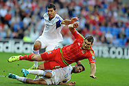 Sam Vokes of Wales is brought down in the penalty area by Israel's Orel Dgani ® but no penalty is given.  Euro 2016 qualifying match, Wales v Israel at the Cardiff city stadium in Cardiff, South Wales on Sunday 6th Sept 2015.  pic by Andrew Orchard, Andrew Orchard sports photography.