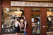 Metz, France. Tattoo and piercing shop in the old town.