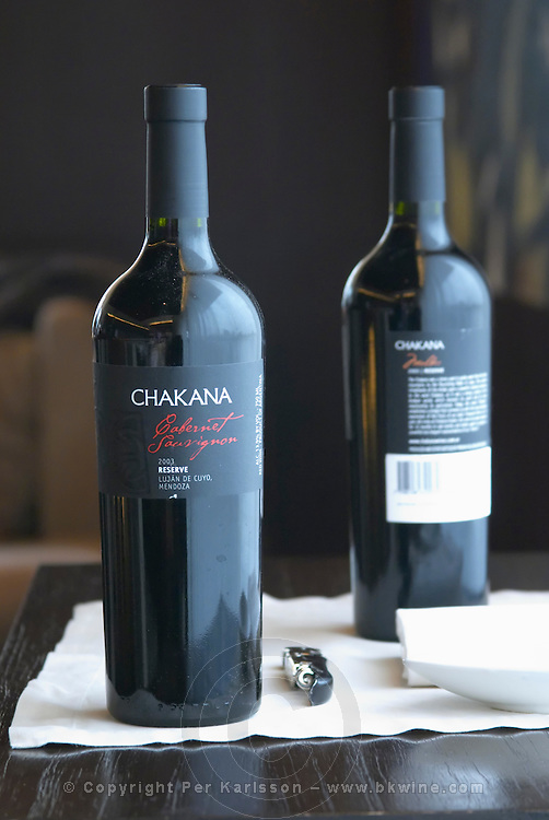 Bottle of Chakana Cabernet Sauvignon 2003 Reserve Lujan de Cuyo Mendoza and a bottle of Malbec. The Restaurant Red at the Hotel Madero Sofitel in Puerto Madero, Buenos Aires Argentina, South America