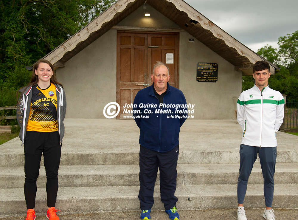 02-07-21. Bohermeen Athletic Club Presentation to Kevin McGrath and Karen Dunne.<br /> Stephen Ball pictured with Kevin McGrath, European U-23 Championships 800Mts Qualifier and Karen Dunne,  Nation Track and Field 800 Hurdles bronze medalist pictured with well-wishers from Bohermeen AC.<br /> Photo: John Quirke / www.quirke.ie<br /> ©John Quirke Photography, 16 Proudstown Road, Navan. Co. Meath. (info@quirke.ie / 046-9028461 / 087-2579454).