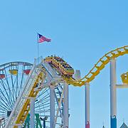 Santa Monica pier roller coaster. Santa Monica, CA.