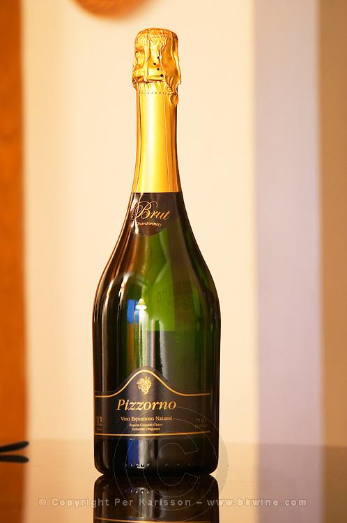 Bottle of sparkling Brut Chardonnay Pizzorno Vino Espumoso natural Bodega Carlos Pizzorno Winery, Canelon Chico, Canelones, Uruguay, South America