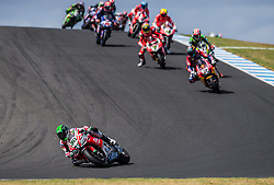 February 25, 2018 - Melbourne, Victoria, Australia - Northern Irish rider Eugene Laverty (#50) of Milwaukee Aprilia leads early in the second race on day 3 of the opening round of the 2018 World Superbike season at the Phillip Island circuit in Phillip Island, Australia. (Credit Image: © Theo Karanikos via ZUMA Wire)