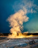 As seen one evening from the Fountain Paint Pot Trail in the Lower Geyser Basin of Yellowstone National Park.  Available at the Eisele Gallery of Fine Art.
