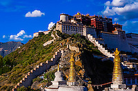 The Potala Palace with stupas in the foreground, Lhasa, Tibet (Xizang), China.
