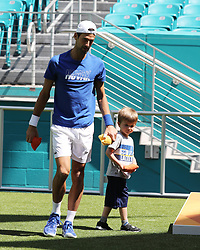 March 23, 2019 - Miami Gardens, Florida, United States Of America - MIAMI GARDENS, FLORIDA - MARCH 23:  Novak Djokovic, Stefan Djokovic day 6 of the Miami Open Presented by Itau at Hard Rock Stadium on Saturday on March 23, 2019 in Miami Gardens, Florida..People: Novak Djokovic, Stefan Djokovic. (Credit Image: © SMG via ZUMA Wire)