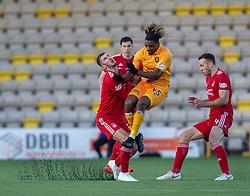 Aberdeen's Dominic Ball and Livingston Dolly Menga. half time : Livingston 0 v 0 Aberdeen, SPFL Ladbrokes Premiership played 29/1/2018 at Livingston home ground, Tony Macaroni Arena.