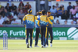 July 1, 2019 - Chester Le Street, County Durham, United Kingdom - Jeffrey Vandersay of Sri Lanka celebrates with his team mates after dismissing West Indies' Jason Holder during the ICC Cricket World Cup 2019 match between Sri Lanka and West Indies at Emirates Riverside, Chester le Street on Monday 1st July 2019. (Credit Image: © Mi News/NurPhoto via ZUMA Press)