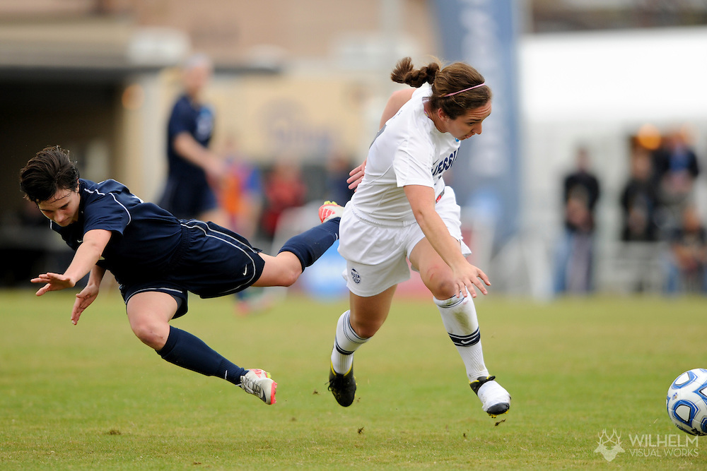 02 DEC 2011: Lauren Federline (11) of Messiah College up ends Jaime Orewiler (5) of Wheaton College during the Division III Women's Soccer Championship held at Blossom Soccer Stadium hosted by Trinity University in San Antonio, TX. Messiah defeated Wheaton 3-1 to win the national title. © Brett Wilhelm