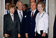 Mikhail and Raisa Gorbachev with Margaret Thatcher and husband Denis at Downing Street, London, UK