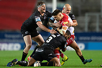 Rugby League - 2020 Betfair Super League - Semi-final - St Helens vs Catalan Dragons - TW Stadium<br /> <br /> St. Helens's Tom Makinson is tackled<br /> <br /> COLORSPORT/TERRY DONNELLY