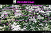 Dolomites Groups map, Italy, Europe (from Google Earth). Mapped Dolomites Groups include: Brenta, Rosengarten/Catinaccio, Langkofel/Sassolungo, Geisler/Odle, Sella, Marmolada, Monte Civetta, Monte Pelmo, Pale di San Martino/Pala Group, Ampezzo, Braies/Prags, Sesto.
