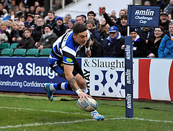 Matt Banahan (Bath) scores one of his four try's of the afternoon during his 150th appearance for Bath Rugby - Photo mandatory by-line: Patrick Khachfe/JMP - Tel: Mobile: 07966 386802 14/12/2013 - SPORT - RUGBY UNION -  The Recreation Ground, Bath - Bath v Mogliano - Amlin Challenge Cup.