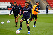Wimbledon midfielder Andy Barcham (17) warming up  during the The FA Cup 3rd round match between Fleetwood Town and AFC Wimbledon at the Highbury Stadium, Fleetwood, England on 5 January 2019.