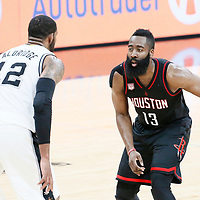 03 May 2017: San Antonio Spurs forward LaMarcus Aldridge (12) defends on Houston Rockets guard James Harden (13) during the San Antonio Spurs 121-96 victory over the Houston Rockets, in game 2 of the Western Conference Semi Finals, at the AT&T Center, San Antonio, Texas, USA.