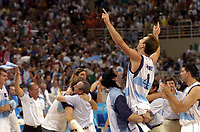 29/08/04 - ATHENS  - GREECE -  - BASKETBALL SEMIFINAL MATCH   - Indoor Olympic Stadium - <br />ARGENTINA win over ITALY and win the GOLD MEDAL<br />Argentine celebration after win the match.<br />Here PEPE SANCHEZ.<br />© Gabriel Piko / Argenpress.com / Piko-Press