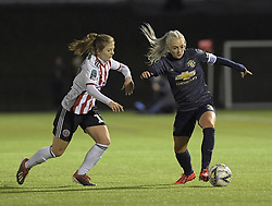 February 20, 2019 - Sheffield, United Kingdom - Alex Greenwood (manchester United) in possession and about to be challenged by Sheffield United's Veatriki Sarri  during the  FA Women's Championship football match between Sheffield United Women and Manchester United Women at the Olympic Legacy Stadium, on February 20th Sheffield, England. (Credit Image: © Action Foto Sport/NurPhoto via ZUMA Press)