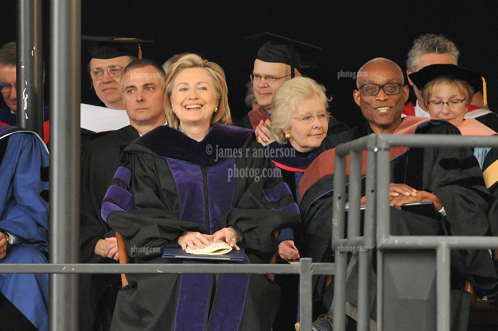 Former Secretary of State Hillary Rodham Clinton and Choreographer Bill T. Jones after receiving their Honorary Degrees from Yale University | Commencement 2009. Credit Photography: James R Anderson