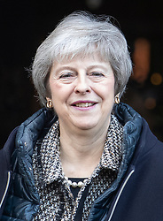 © Licensed to London News Pictures. 07/12/2018. Maidenhead, UK. Prime Minister Theresa May visits a church in her Maidenhead constituency. Cabinet ministers are touring the UK today to try and sell Mrs May's Brexit deal ahead of the meaningful vote in Parliament on Tuesday.  Photo credit: Peter Macdiarmid/LNP