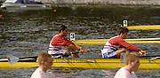 Bled, Slovenia, YUGOSLAVIA.  GBR M4-, left Bow. Salih HASSAN, John GARRETT,  GBR men's Coxless Four.1989 World Rowing Championships, Lake Bled. [Mandatory Credit. Peter Spurrier/Intersport Images]