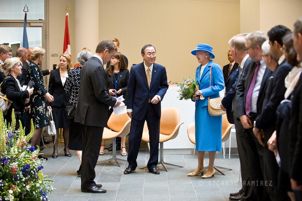 04.07.2013. Copenhagen, Denmark.Queen Margrethe II together with the UN Secretary-General, Ban Ki-moon attend the officially opened UN City in CopenhagenPhoto:© Ricardo Ramirez