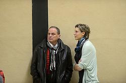 23-01-2013 VOLLEYBAL: BEKER PDK HUIZEN - VV ALTERNO: APELDOORN<br /> PDK Huizen verliest de eerste wedstrijd met 3-1 / Lodewijk Severein en Ingrid Visser als toeschouwers bij het bekerduel<br /> ©2013-FotoHoogendoorn.nl