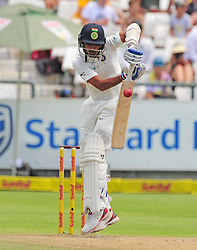 Cape Town 180106  Indian fast bowler  Muhamed Shami blocks a fast ball from Kagiso Rabada at Newlands stadium in Cape Town,where the two countries are playing  their  2018 sunfoil cricket test.  Picture:xPhando Jikelo/African News Agency(ANA)
