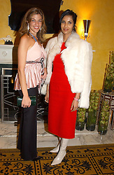 Left to right, MICHELLE BAROUH and PADMA LAKSHMI wife of Salman Rushdie at a party to celebrate the launch of Michelle Watches held at the Blue Bar, The Berkeley Hotel, London on 7th October 2004.<br />